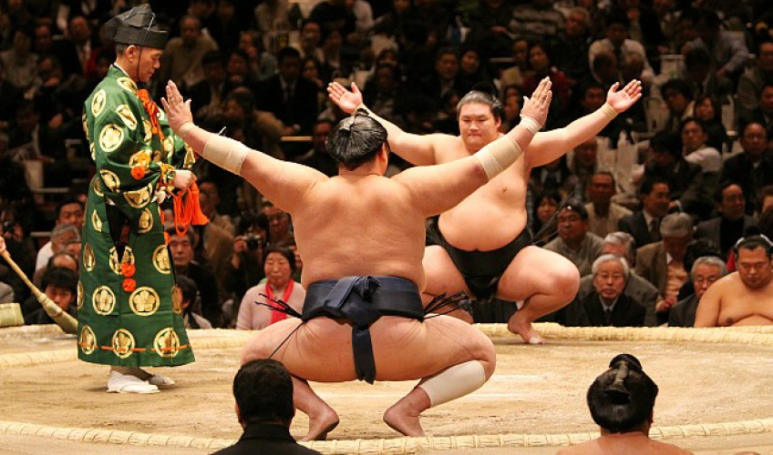 Sumo wrestlers and regular people